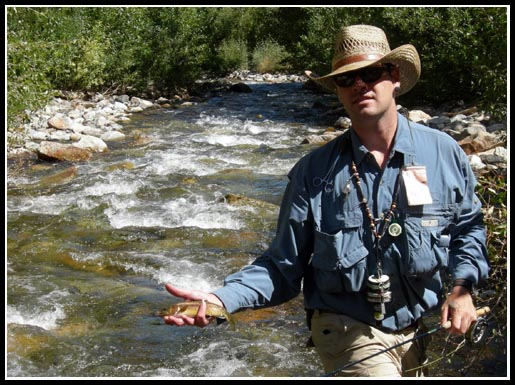 Me with a nice, little, wild rainbow X golden trout hybrid, taken on a dry fly in one of my favorite little freestone creeks.